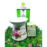 Combo đèn xông tinh dầu nến hoa văn + tinh dầu sả chanh 10ml Bio Aroma tặng kèm 10 viên nến tealight (đèn giao màu ngẫu nhiên)