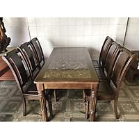 Bộ bàn ăn gỗ sồi nga ghế trưởng tiện mặt đá 6 ghế bàn vuông