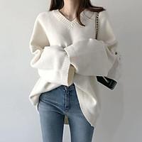 (Có sẵn)Áo len rộng dáng dài ulzzang