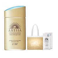 Combo Kem chống nắng Anessa dạng sữa dưỡng da bảo vệ hoàn hảo SPF 50+ PA++++ 60ml kèm Kem chống nắng Anessa dạng gel dưỡng trắng 4ml và Túi Cói Anessa