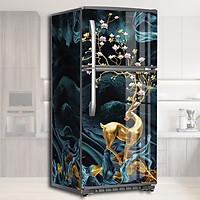 Miếng Dán Trang Trí Tủ Lạnh Nai Vàng Sừng Hoa, Mang Lại May Mắn Tài Lộc - Decal Dán Tủ Lạnh Hiện Đại, Dễ Dàng Tự Bóc Dán, Không Thấm Nước, Không Bay Màu
