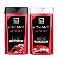 Combo Dầu gội và Sữa tắm cao cấp Romano Attitude 380g/chai