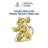 Tượng chuột sứ Minh Long 8 cm - Trang trí dát vàng 24K (tượng chuột Phú)