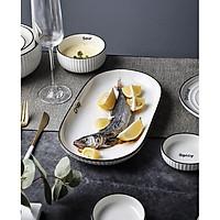 Bộ sưu tập bát đĩa trắng vân sọc phong cách Bắc Âu