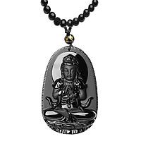 Dây Chuyền Ngọc Đen Osbidian Phật A Di Đà Hộ Mệnh ALCC