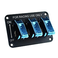 Racing Car Vehicle 3 Rocker Switch Panel Button Flipup Ignition Toggle Blue