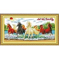 Tranh thêu chữ thập thêu kín Mã Đáo Thành Công- Ngựa Đạp Nước (118*67cm) chưa thêu