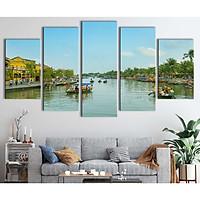 Bộ 5 tranh canvas treo tường phong cảnh sông nước Hội An - B5T016