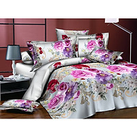 4Pcs/Set 3D Flower Series Printing Bed Sheet Pillow Cover Quilt Cover for Home Decor