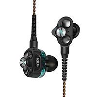 Tai nghe nhạc hay chơi game cao cấp Plextone DX6 âm thanh Hybrid 3 Driver Earphone Head hàng chính hãng jack 3.5mm, dây tín hiệu chống kéo, chông uốn, tai Phone sử dụng Socket MMCX có Module chuyển đổi thành tai nghe không dây hoặc Type C. - Hàng Chính Hãng