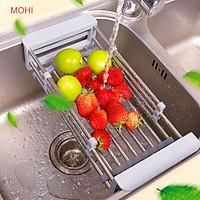 Kệ inox gác bồn rửa chén, giúp làm khô chén bán, hoa quả, rau trước khi cất, chế biến (giao màu ngẫu nhiên)