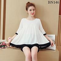 Bộ mặc bầu và sau sinh điệu đà màu trắng phối đen hàng cao cấp BN146
