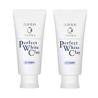 Combo 2 Tuýp Sữa Rửa Mặt Đất Sét Trắng Sạch Sâu Sáng Mịn Senka Perfect White Clay Chiết Xuất Tơ Tằm Dưỡng Ẩm (120g)