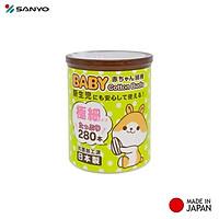 Hộp tăm bông kháng khuẩn Sanyo ( 280 que ) 100% Bông gòn tự nhiên mềm mại - made in Japan