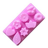 Khuôn silicon làm thạch, rau câu, socola, kẹo 8 hình hoa lá