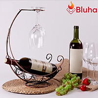 Giá Treo Ly Rượu hình Tàu Cướp Biển kèm Khay để chai rượu Kèm Kệ Để Chai rượu vang Đặt Bàn
