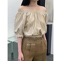 Áo kiểu nữ, Áo croptop nữ phong cách retro màu nude size S M L new trend A-01