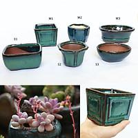 Chậu gốm sứ Bát Tràng Size M có lỗ, chậu bonsai men hỏa biến, men chảy, xinh xắn, độc đáo trồng bonsai, sen đá, decor