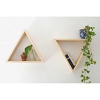 Combo 2  Kệ gỗ trang trí treo tường hình tam giác Phụ kiện trang trí phòng ngủ gỗ thông tự nhiên
