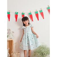 Đầm Linen Hoa Xanh Vintage Dành Cho Bé Từ 1 Đến 6 Tuổi
