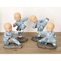Bộ 4 tượng chú tiểu áo xanh đi quyền đứng 19,5cm