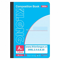 Sổ may dán gáy A4 - 360 trang; Klong 316 bìa xanh ngọc