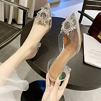 Giày Sandal Nữ Cao Gót Hoa Đá Trong Suốt Gót 5p Tôn Dáng Kèm Mặt Nạ (Mã 903)
