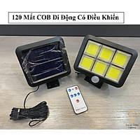 Đèn năng lượng mặt trời 120 Led Có cảm biến chuyển động Tặng kèm 1 điều khiển từ xa Remove