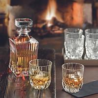 Bộ Bình và 6 ly rượu whisky Pha lê Ý RCR Adagio