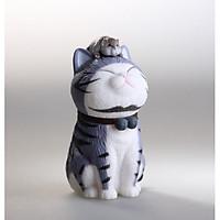 Mô hình Mèo Ngồi Và Chuột nhỏ Trang Trí Ô Tô, Nhà Cửa