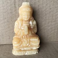 Phật quan âm để xe hơi loại cao 10 cm nặng 0.3 kg đá tự nhiên màu vàng dòng Onyx TUONGQUANAM