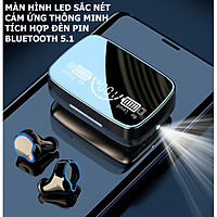 Tai Nghe Bluetooth True Wireless M9 Âm Thanh HiFi Trung Thực, Màn Hình Hiển Thị Sắc Nét, Tích Hợp Thêm Đèn Pin Soi Sáng - Hàng chính hãng