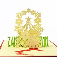 Thiệp nổi 3D handmade Cây thông và  những bông tuyết nhỏ trong ngày Giáng Sinh- Merry Christmas 3D card CN010
