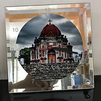 Đồng hồ thủy tinh vuông 20x20 in hình Church - nhà thờ (274) . Đồng hồ thủy tinh để bàn trang trí đẹp chủ đề tôn giáo