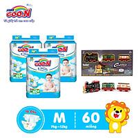 Combo 3 bịch Tã Dán Goo.n Premium Cao Cấp Gói Cực Đại Size M60 (60 Miếng) + Tặng Bộ đồ chơi mô hình đường tàu dùng pin