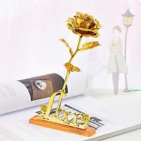Hoa hồng mạ vàng 24K có đế bông màu vàng