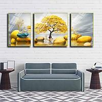 Bộ 3 tranh mica cao cấp Hươu vàng trên đá - MK006