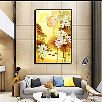 Tranh đơn canvas treo tường Decor Họa tiết hoa sen tông vàng kim - DC159