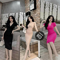Đầm Body Xoắn Ngực Tay Ngắn Thun Borip Thích Hợp Mặc Đi Tiệc Đi Làm Đi Chơi Phù Hợp Với Mọi Phong Cách