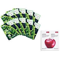 Combo 10 Gói Mặt Nạ Trà Xanh Dưỡng Da 3w Clinic Fresh Greentea Mask Sheet 100% Cotton (23ml/Miếng) và Tẩy da chết Beauskin Apple White Peeling Mini Size