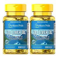 Thực Phẩm Chức Năng - Bộ 2 Viên Uống Dầu Gan Cá Tuyết Giúp Sáng Mắt Puritan'S Pride Cod Liver Oil (100 Viên)