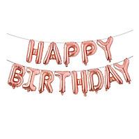 Bong bóng chữ Happy Birthday màu vàng hồng