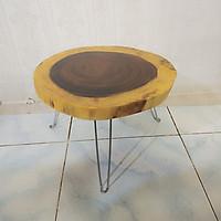 Bàn trà, bàn cafe gỗ me tây nguyên khối - chân sắt 3 chấu chắc chắn - đường kính mặt 40-50cm - độ dày mặt bàn 4-5cm