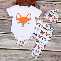 Newborn Baby Boys Girls Clothing Infnat Romper T-shirt + Cartoon fox Pants Infant Toddler kids Outfit Summer Clothing Set