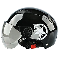 Mũ bảo hiểm thời trang ngôi sao thời trang ABS + PC mùa hè mát mẻ, (trong suốt, nâu) Kích thước không có thấu kính HD (có thể điều chỉnh 54-60cm)