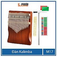 Đàn kalimba 17 phím MYRON-M17 cho bạn mới tập chơi tặng búa chỉnh âm  , giấy dán màu, giấy dán nốt , 25 bài tab kalimba, 1 sách hướng dẫn chơi đàn kalimba