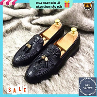 Giày nam công sở phong cách lịch lãm, Giày da nam cao cấp chất liệu da bò pu in vân nổi bật đế cao su đúc - Mã GEA01