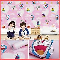 Giấy dán tường doremon bầu trời hồng có keo sẵn khổ rộng 45cm, giấy decal dán tường doremon phòng ngủ cho bé