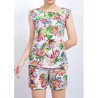 Bộ mặc nhà lanh (tole) Vicci BS3D.069.12 quần short vải Thái 3D cao cấp họa tiết lá hồng