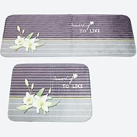 Bộ 2 thảm DTP in hình hoa lily Carmi (45 x 65 cm & 45 x 120 cm)